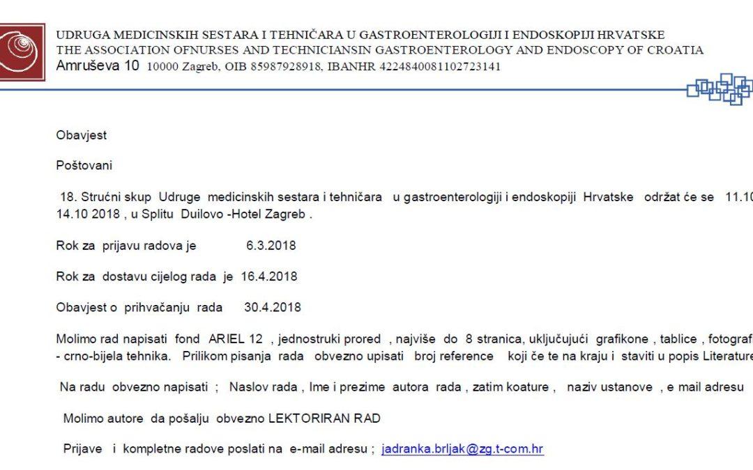18. Strućni skup Udruge medicinskih sestara i tehničara u gastroenterologiji i endoskopiji Hrvatske